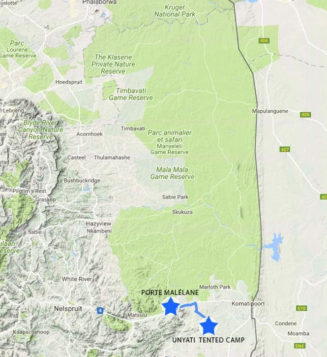 De la Porte Malene (Parc Kruger ) au Camp Unyati – environ 30 min.