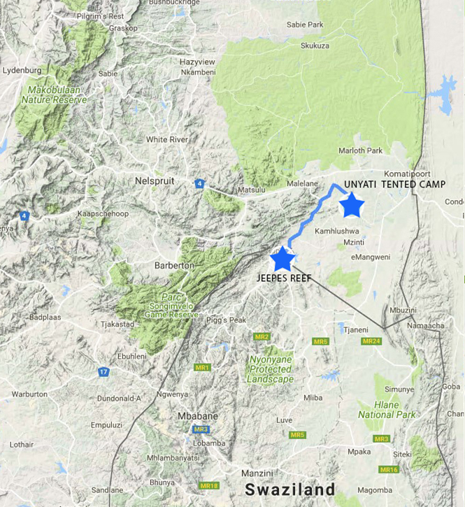 Du Poste frontière du Swaziland au Camp Unyati – 45 min environ.