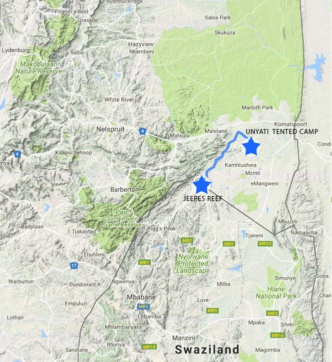 Swaziland Border post per Unyati Tented Camp-circa 45 min